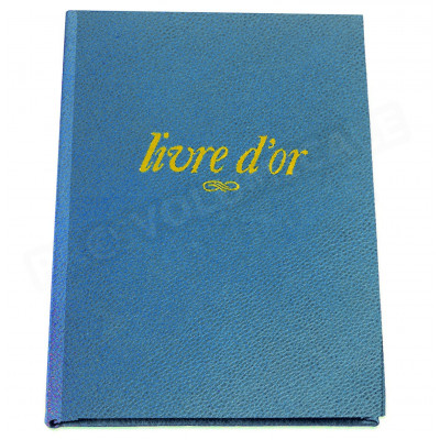 Livre d'Or A4 cuir Bleu-turquoise Beaubourg