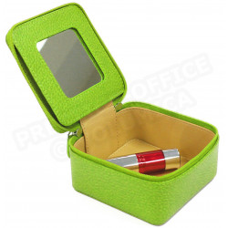 Boîte à bijoux cuir Vert-anis Beaubourg