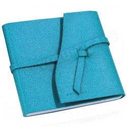 Carnet de voyage 21x21 cuir Bleu-turquoise Beaubourg