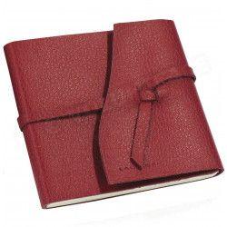 Carnet de voyage 15x15 cuir Rouge-bordeaux Beaubourg