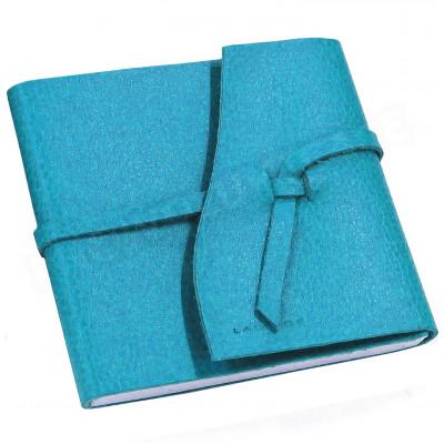 Carnet de voyage 15x15 cuir Bleu-turquoise Beaubourg