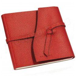 Carnet de voyage 15x15 cuir Rouge Beaubourg