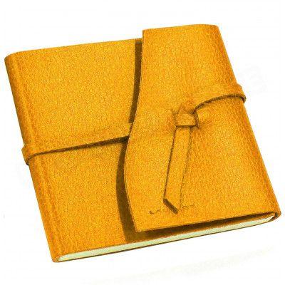 Carnet de voyage 15x15 cuir Orange Beaubourg