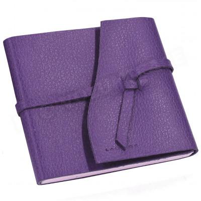 Carnet de voyage 15x15 cuir Violet Beaubourg