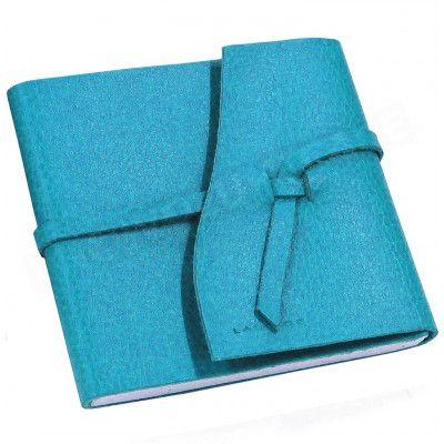 Carnet de voyage 10x10 cuir Bleu-turquoise Beaubourg