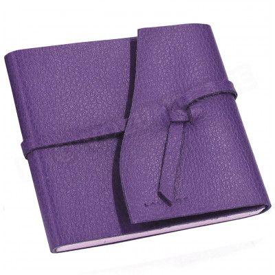 Carnet de voyage 10x10 cuir Violet Beaubourg