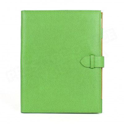 Conférencier portfolio A4 cuir Vert-anis Beaubourg