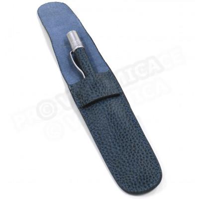 Etui à stylo cuir Bleu-marine Beaubourg