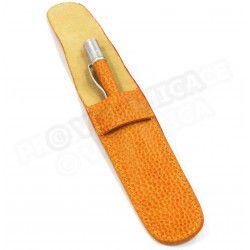Etui à stylo cuir Orange Beaubourg