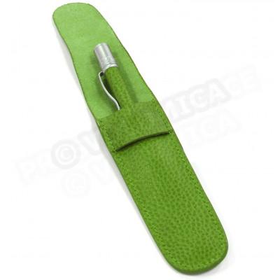 Etui à stylo cuir Vert-anis Beaubourg