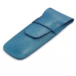 Etui 2 stylos cuir Bleu-turquoise Beaubourg