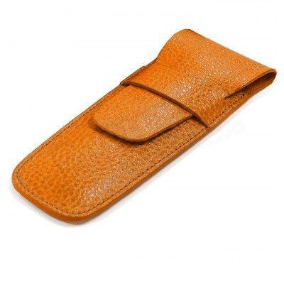 Etui 2 stylos cuir Orange Beaubourg