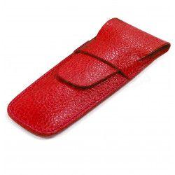 Etui 2 stylos cuir Rouge Beaubourg