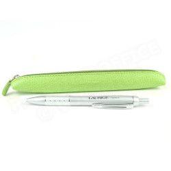 Etui stylo à zip cuir Vert-anis Beaubourg