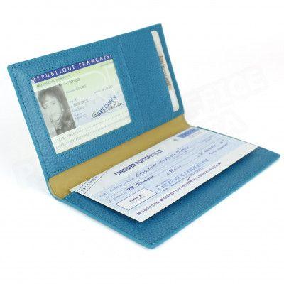 Porte chéquier cuir Bleu-turquoise Beaubourg