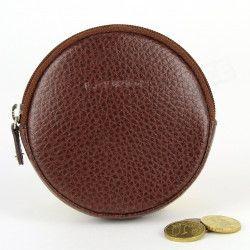 Porte-monnaie Rond cuir Marron Beaubourg