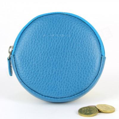 Porte-monnaie Rond cuir Bleu-turquoise Beaubourg