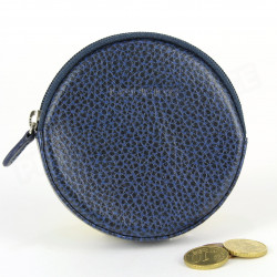 Porte-monnaie Rond cuir Bleu-marine Beaubourg