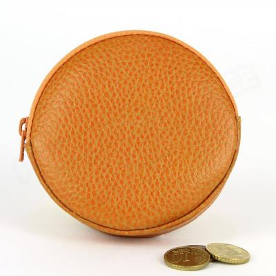 Porte-monnaie Rond cuir Orange Beaubourg