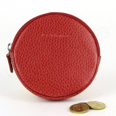 Porte-monnaie Rond cuir Rouge Beaubourg