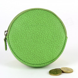 Porte-monnaie Rond cuir Vert-anis Beaubourg