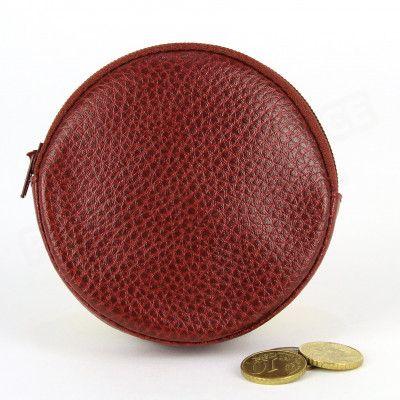 Porte-monnaie Rond cuir Rouge-bordeaux Beaubourg