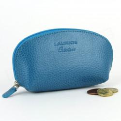 Porte-monnaie cuir Bleu-turquoise Beaubourg