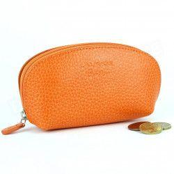 Porte-monnaie cuir Orange Beaubourg
