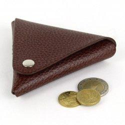 Porte-monnaie triangle cuir Marron Beaubourg