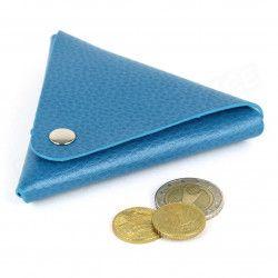 Porte-monnaie triangle cuir Bleu-turquoise Beaubourg