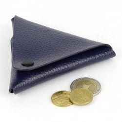 Porte-monnaie triangle cuir Bleu-marine Beaubourg