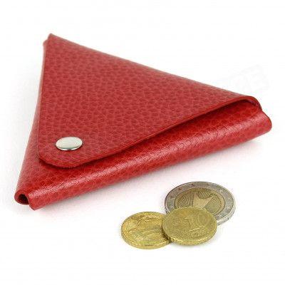 Porte-monnaie triangle cuir Rouge Beaubourg