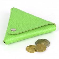 Porte-monnaie triangle cuir Vert-anis Beaubourg