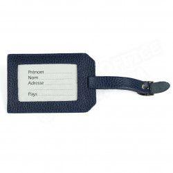Etiquette bagage cuir Bleu-marine Beaubourg