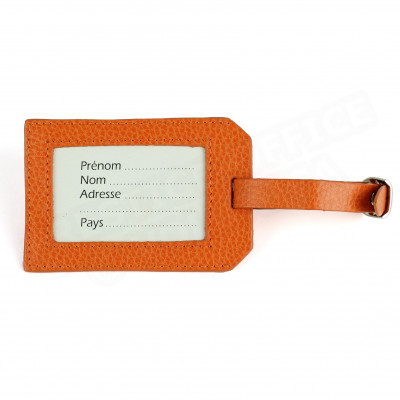 Etiquette bagage cuir Orange Beaubourg