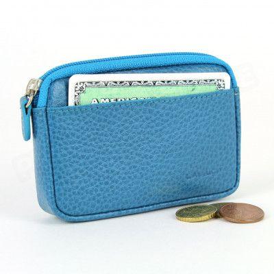 Porte-monnaie carte cuir Bleu-turquoise Beaubourg