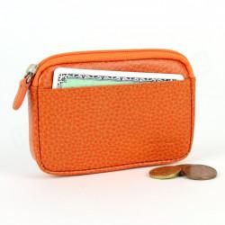 Porte-monnaie carte cuir Orange Beaubourg