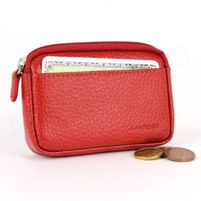 Porte-monnaie carte cuir Rouge Beaubourg