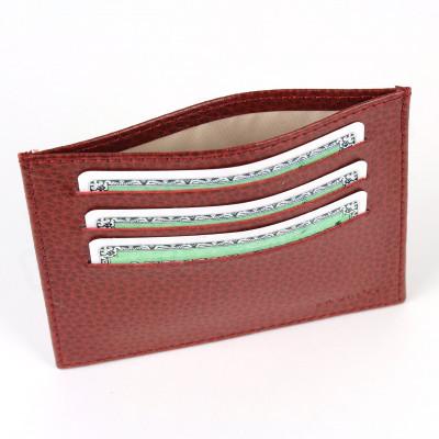 Porte Carte d'identité et Carte bancaire en cuir Rouge-bordeaux Beaubourg