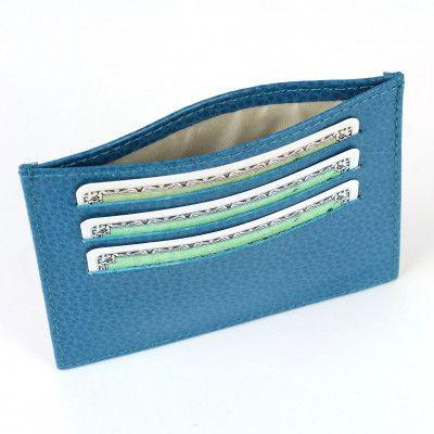 Porte Carte d'identité et Carte bancaire en cuir Bleu-turquoise Beaubourg