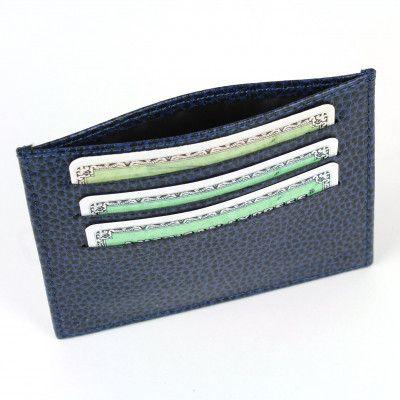 Porte Carte d'identité et Carte bancaire en cuir Bleu-marine Beaubourg