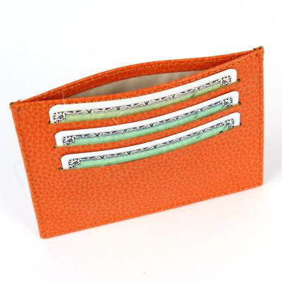 Porte Carte d'identité et Carte bancaire en cuir Orange Beaubourg