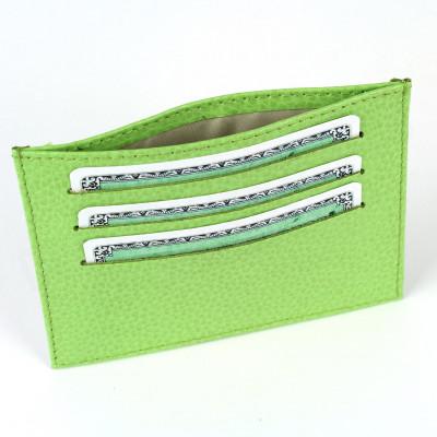 Porte Carte d'identité et Carte bancaire en cuir Vert-anis Beaubourg