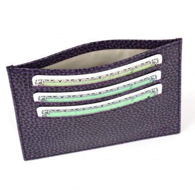 Porte Carte d'identité et Carte bancaire en cuir Violet Beaubourg