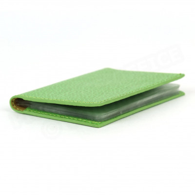 Porte 12 cartes cuir Vert-anis Beaubourg