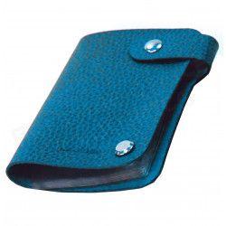 Porte cartes cuir Bleu-turquoise Beaubourg