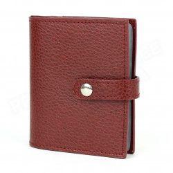 Porte 24 cartes cuir Rouge-bordeaux Beaubourg