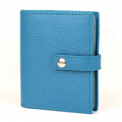 Porte 24 cartes cuir Bleu-turquoise Beaubourg