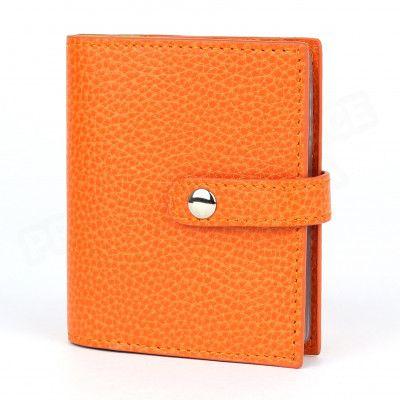 Porte 24 cartes cuir Orange Beaubourg