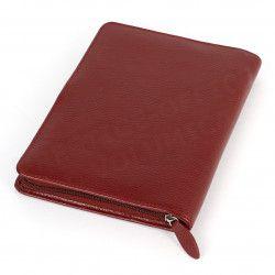 Conférencier zip A5 cuir Rouge-bordeaux Beaubourg